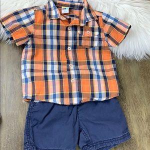 SET: Shorts & Plaid Shirt size 24 mo